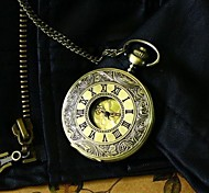 Men Steampunk Bronze Pocket Watch Vintage Big Roman Number Fashion Quartz Fob Watch Necklace Watch