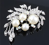 Women Pearls CZ Crystal Wedding Brooch for Birde