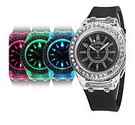 Women's Fashion Bling Crystal Rhinestone Bezel Geneva Silicone Jelly Bracelet Watch Quartz Analog RGB LED