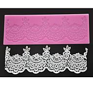 FOUR-C Sugar Craft Tools Silicone Lace Mat Sweet Lace Decorating Pad,Silicone Mat Fondant Cake Tools Color Pink