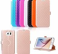 Samsung Handy - Samsung Samsung Galaxy S6 - Hüllen mit Ständer - Einfarbig ( Schwarz/Weiß/Blau/Purpur/Rosé/Gold/Orange , PU Leder )
