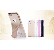 Special Design Solid Color Good Quality PU Leather and Metal Bumper Frame  for iPhone 6 (Assorted Colors)