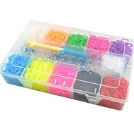 DIY Twistz Bandz Rainbow Color Loom Style with Storage Case (10 Colors and 3000pcs Bands)