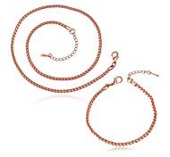 Plated Rose Gold 3MM Fashion Jewelry Sets Necklace bracelet