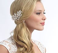 Flashion Charming Wedding Party Bride Flower Austria Crystal Water Pearls Silver Combs Hair Accessories