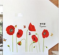 Flowers Red Trader Bedroom Setting Wall Stickers