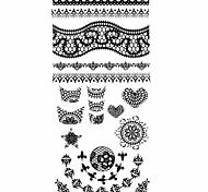 1PC 3D Black Nail Art Stickers Lace Nail Wraps Nail Decals Star Heart Nail Polish Decorations