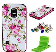 Sweet Rose Flower Pattern Case Cover with Dust Plug and Stand for Samsung Galaxy S5 Mini