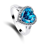 Fashion Women's Crystal Ring Heart Handmade Ring