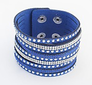 Women's Fashion Rhinestone Pave Wide Leather Wrist Chain Bracelets