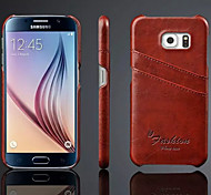 Genuine Leather with Card Bag Case for Samsung Galaxy S6