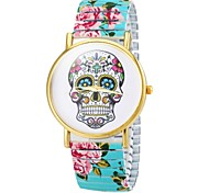 Women's Bracelet Watch Quartz Analog Skull Dial Flower Band
