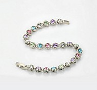 Silver Color 18K White Gold Plated Simulated Diamond Bangle Shining Austria Colorful Crystal Bracelet