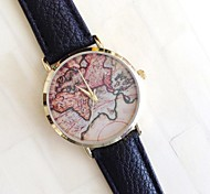 Female Fashion Map Round Belt Chinese Movement Watch(Assorted Colors)