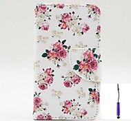Charming Flowers Pattern PU Leather Case Cover with A Touch Pen ,Stand and Card Holder for Nokia Lumia 530