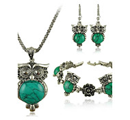 Our Major Suit Turquoise Jewelry Set Retro Imitation Silver Owl Flowers Three Piece Suit