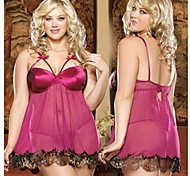 Volptuous Sercet®Super Sexy Lady Lace Satin Robe Night Sleepwear Free Size