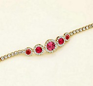 Fashion Adjustable 18K Yellow Gold Plated Shining Pink Austria Crystal Simulated Diamond Sapphire Bracelet