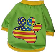 The New 2015 Cotton T-Shirts  Footprints Flag (Different Size Of The Dog), Dog Clothes, Shirts, Readymade Garments, Pet