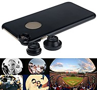 180°Fish Eye + Wide Angle + Macro Lens 3-in-1 Camera Lens Kits for Apple iPhone 6 with Back Case Cover (Assorted Color)