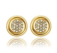 Fashion Diamante Round Cap Golden Gold-Plated Stud Earrings (Golden)(1Pair)