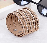 Hot Drill Bangle Handmade Rivet Velvet Bracelet Bling Rhinestone Wrap Leather Bracelet Jewelry