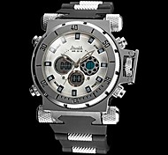 Men's Big Size Steel Case Military Watch Japanese Quartz Analog-Digital Calendar/Chronograph/Water Resistant/Alarm