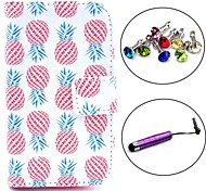 Pineapple Pattern PU Leather Case with Stylus and Dust Plug for Samsung Galaxy Fame S6810/S6818