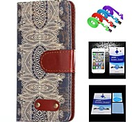 Decorative Design Pattern Full Body Case+1 HD Screen Protector+1 USB Data Transmit and Charging Cable for iPhone 6