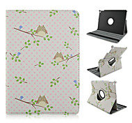 Fashion Painted Owls Rotary PU Tablet Protect Case with Stand for iPad Air 2