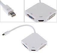 3 in 1 Mini DP DisplayPort Thunderbolt to DVI HDMI VGA Display Port [Better Chip] Adapter Cable for Mac Book Surface