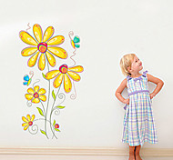 Environmental Removable Yellow Flower PVC Wall Sticker