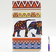 Flowers Elephants Pattern PU Leather Case Cover with A Touch Pen ,Stand and Card Holder for Nokia Lumia 530