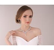 dama de honra do casamento de noiva brincos de cristal colar conjuntos de jóias