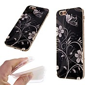 Black Flower Pattern TPU Back Cover Case for iPhone 6