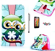 KARZEA™Green Owl Pattern PU Leather Case with Screen Protector and Stylus+Dust Plug for Motorola moto G