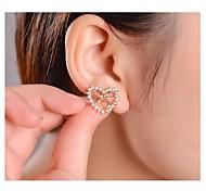 Rose Gold Plated Bow Diamond Lovely Heart Earrings