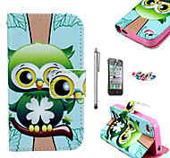 KARZEA™ Green Owl Pattern PU Leather Case with Screen Protector and Stylus and Dust Plug for iPhone 4/4S