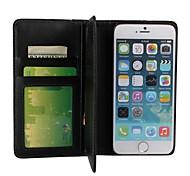 Côr Sólida/Design Especial - iPhone 6 Plus - Capa com Suporte/Cases Totais/Caso Wallet (Preto , Pele PU/Plástico)