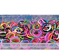 1000Pcs Rainbow Color Loom Style Silicone Band Elastic Woven Bracelets Band, 1 Looms ,1Hook+1Box