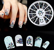 Mixed Size Black AB Color Manicure Acrylic Diamond Nail Jewelry