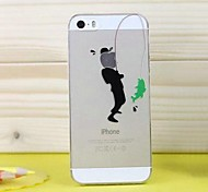 High Quality Ultra-Thin Transparent Cartoon Fish Bait TPU Soft Case for iPhone 5/5S