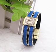 Hand Woven Folk Style Leather Hand Retro Alloy Bracelet (various colors)