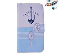 Small Anchor Pattern PU leather Full Body Case Dustproof Plug With Card Slot and Stand for Motorola G2