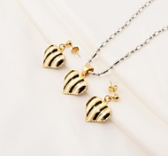 Fashion Black and White Stripes Heart Shape Stainless Steel(Necklace&Earrings) Jewelry Set