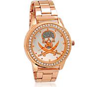 Women's Rhinestone Skull Rose Gold Watch