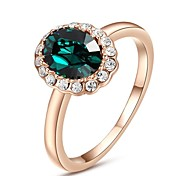 18K Rose Gold Plated Classic Purple/Emerald Ring jewelry rings for women With Austrian Crystal Stellux