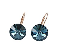 Exquisite Fashion 18K Rose/White Gold Plated Ladies Jewelry Dazzing Dark Blue Crystal Cubic Zirconia Dangle Earrings