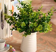 "13.7""L Set of 1 Natural 7 Sticks Green Eucalyptus Leaves Plastic Plants"