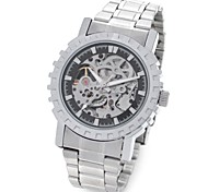 CJIABA GK8007-B Stainless Steel Men's Self-Winding Mechanical Skeleton Wrist Watch (Silver and Black)